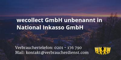Beitragsbild: wecollect GmbH unbenannt in National Inkasso GmbH