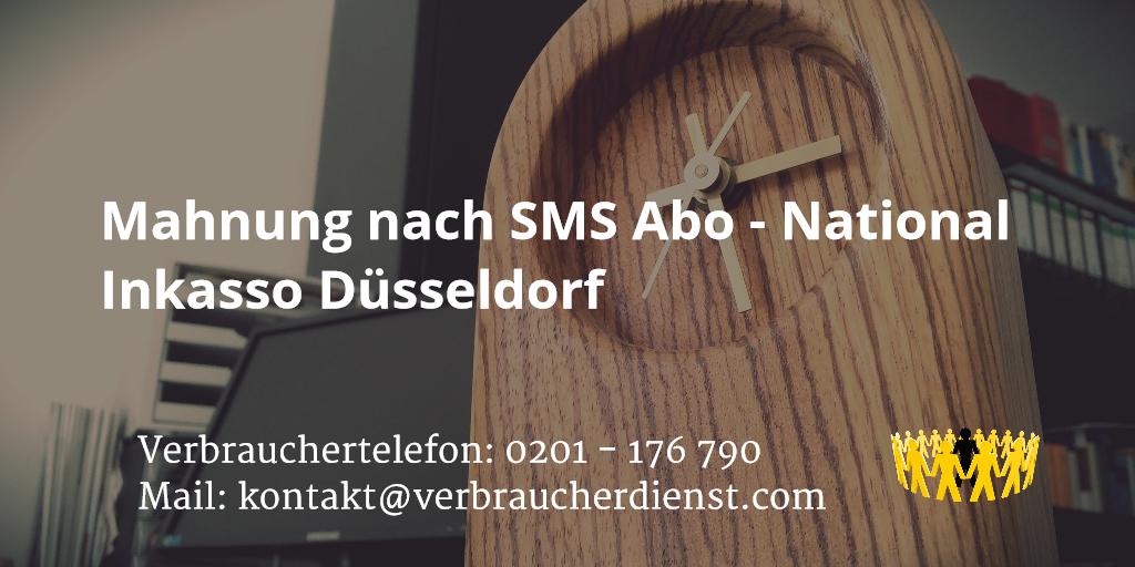 Beitragsbild: Mahnung nach SMS Abo - National Inkasso Düsseldorf