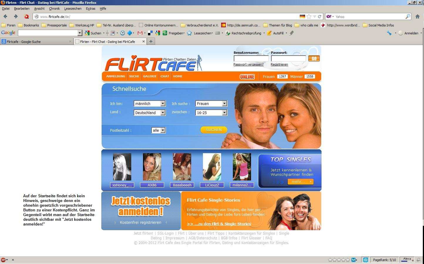 flirtcafe bewertung Flirtcafe im vergleichstest bewertung der singlebörse für junge singles.