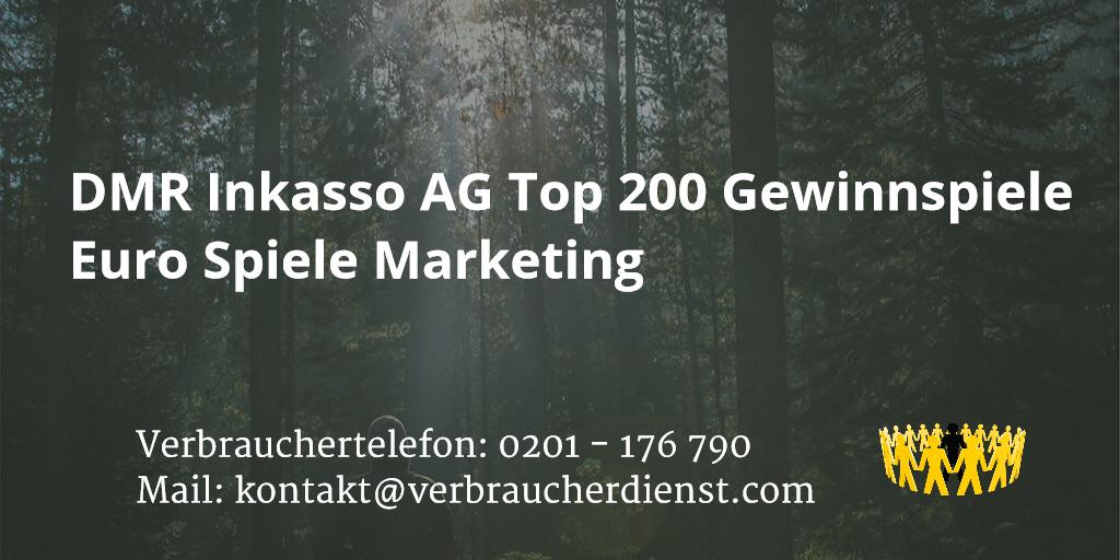 Beitragsbild: DMR Inkasso AG Top 200 Gewinnspiele Euro Spiele Marketing