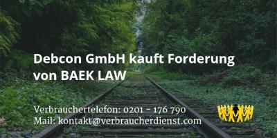 Beitragsbild: Debcon GmbH kauft Forderung von BAEK LAW