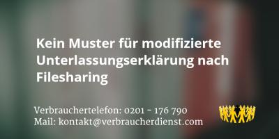 Beitragsbild: Kein Muster für modifizierte Unterlassungserklärung nach Filesharing