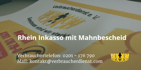 Beitragsbild: Rhein Inkasso mit Mahnbescheid