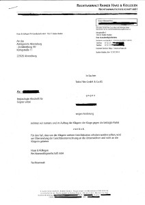 Rainer Haas Kollegen Klage-Rücknahme