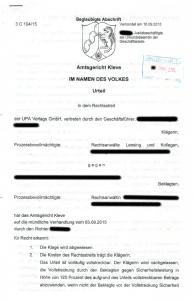 Urteil UPA Verlags GmbH