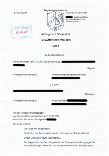Urteil AG Düsseldorf