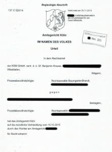 Urteil KSM GmbH