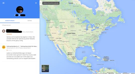 Artikelbild: Screenshot von einer fragwürdigen Google Places Bewertung