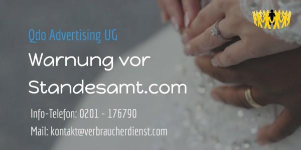 Beitragsbild: Warnung vor Standesamt.com Qdo Advertising UG