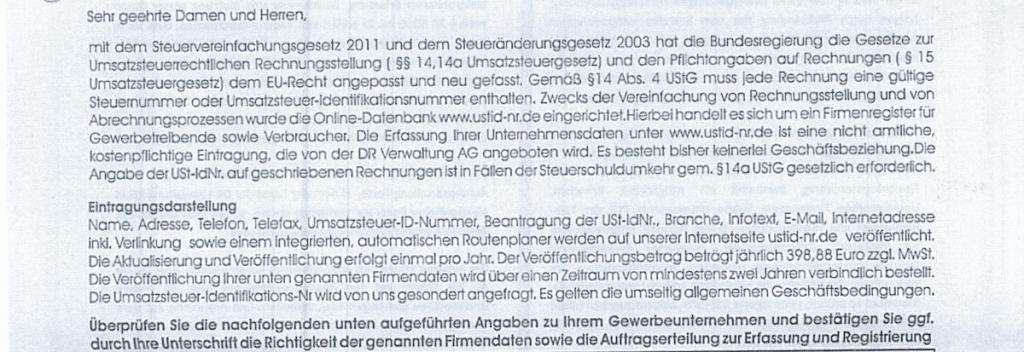 Bild DR Verwaltung AG Formular Text