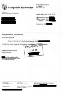 Bild Schriftstück LG Saarbrücken
