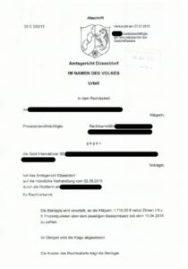 Bild Urteil Goldaktie AG Düsseldorf