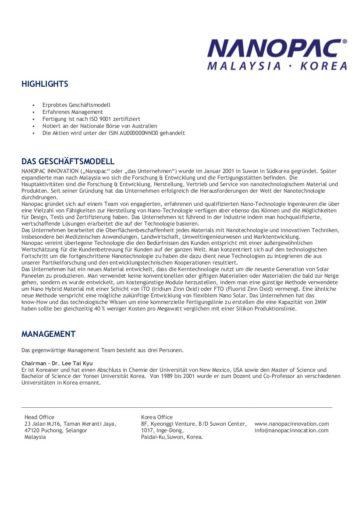 Scan: Fact Sheet von Nanopac Seite 1/3